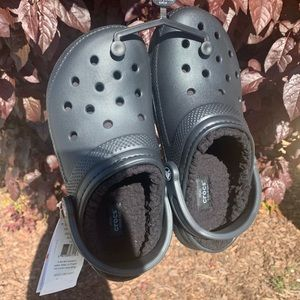 Black Classic Lined Clog / Fur Crocs
